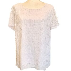 J. Crew Lace Lined Short Sleeve Button Back Blouse